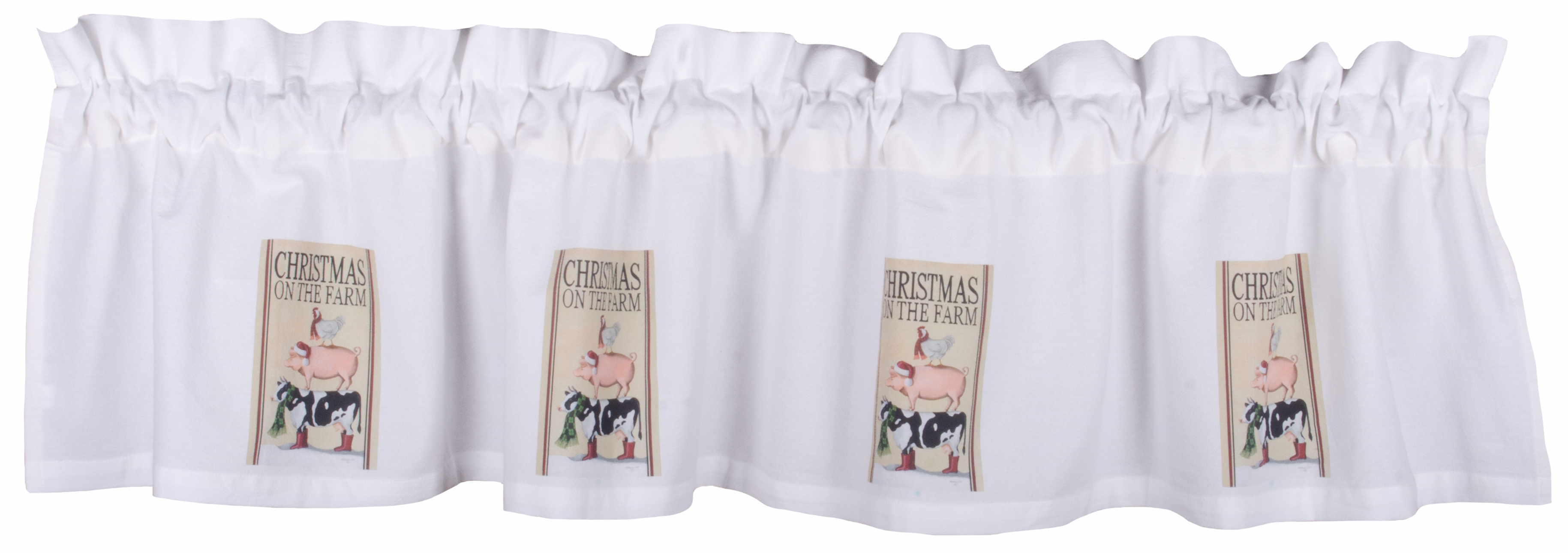 Christmas on the Farm White Valance