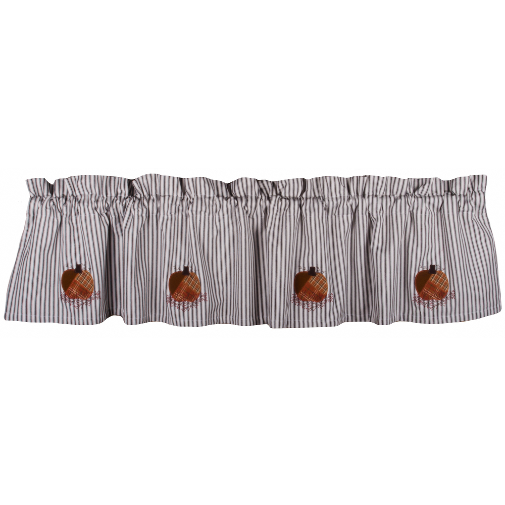Patchwork Pumpkin Black-White Ticking Valance