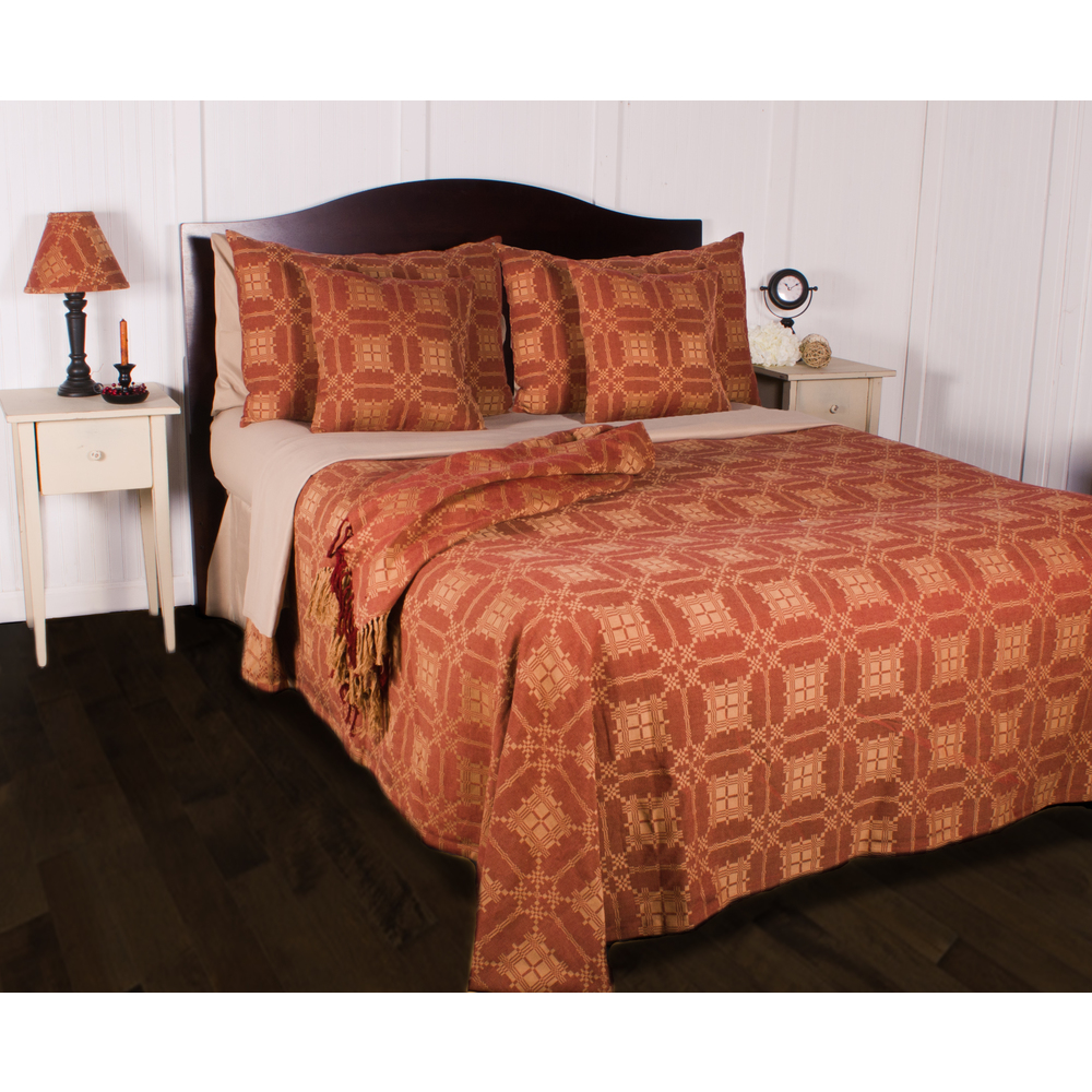 Smithfield Jacquard Bedcover King Barn Red