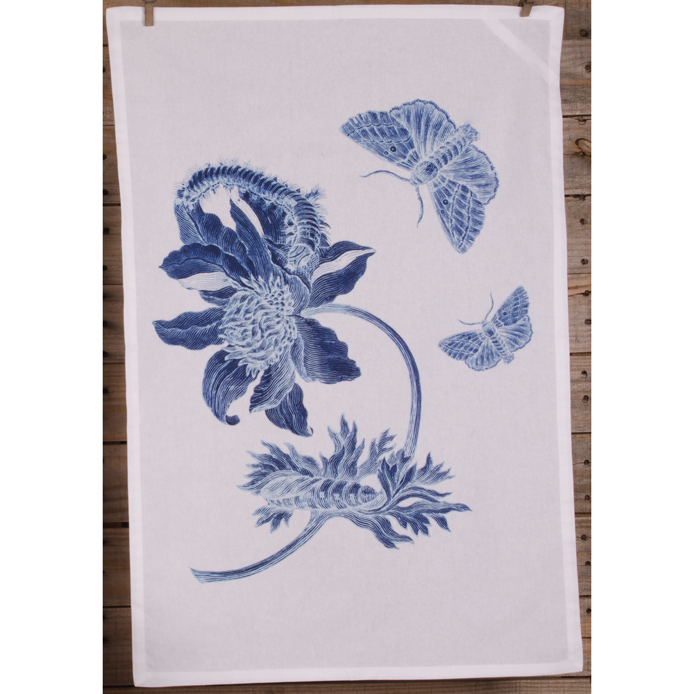 Indigo Flower White Kitchen Towel