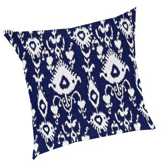 Ikat Pillow Cobalt-White