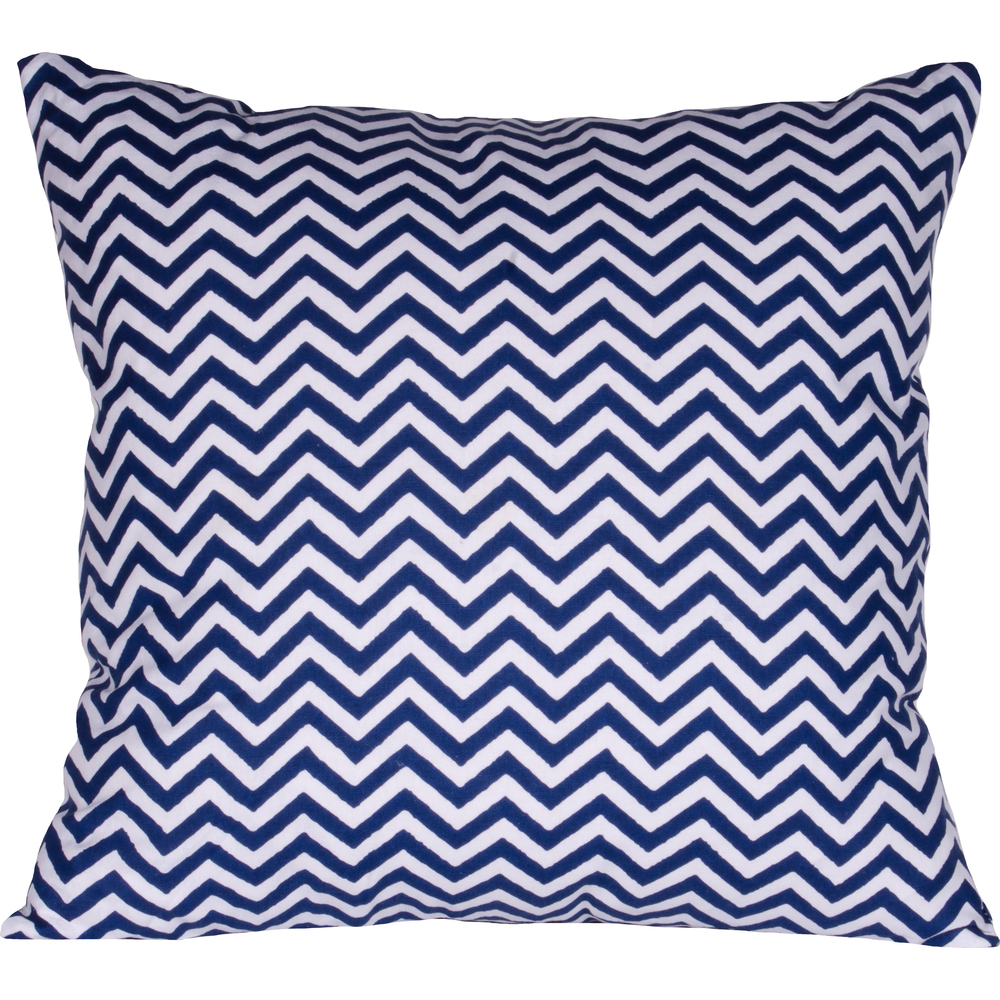 Chevron Pillow Cobalt-White