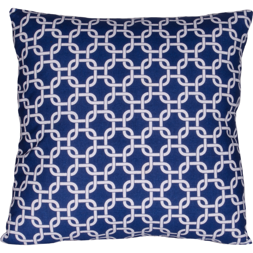 Greek Key Pillow Cobalt-White