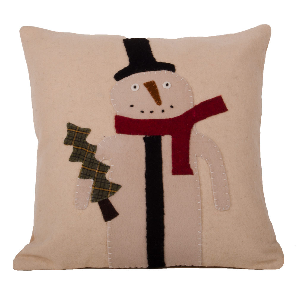 Primitive Snowman Pillow Nutmeg