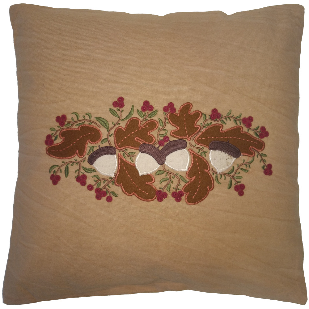 Acorns And Berries Tea Dyed Pillow