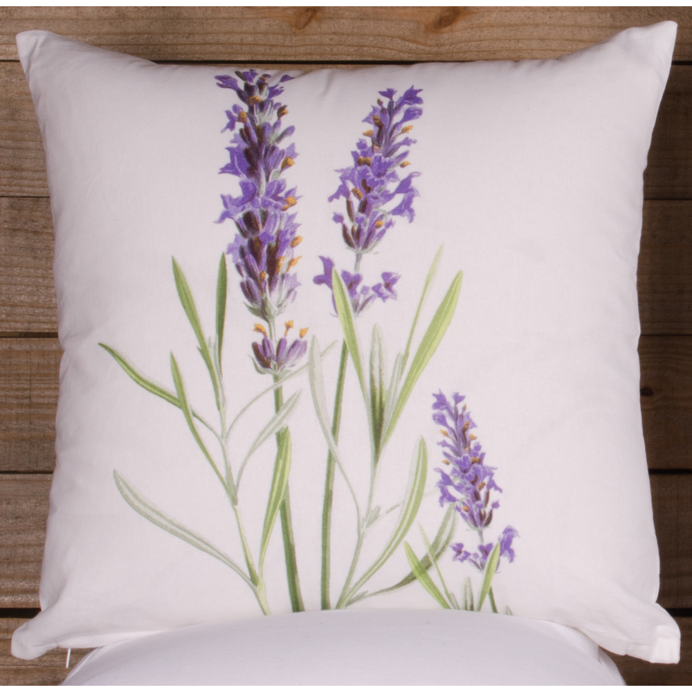 Lavender White Pillow Cover (Cover Only, No Insert)