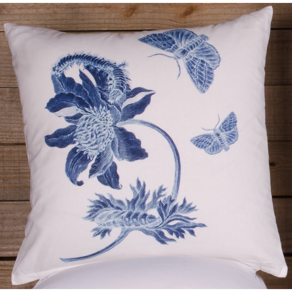 Indigo Flower White Pillow Cover (Cover Only, No Insert)